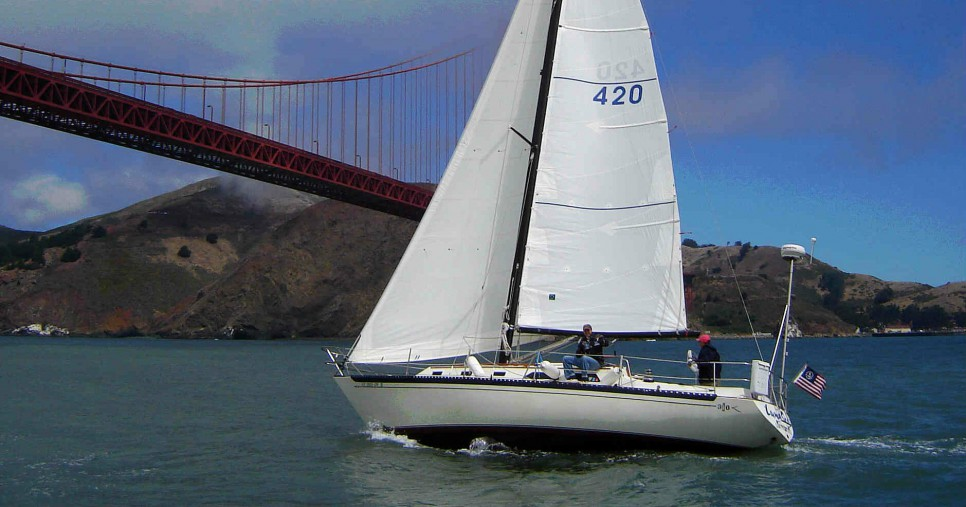 The Islander 36, Luna Sea, rents for $350 per day on San Francisco Bay
