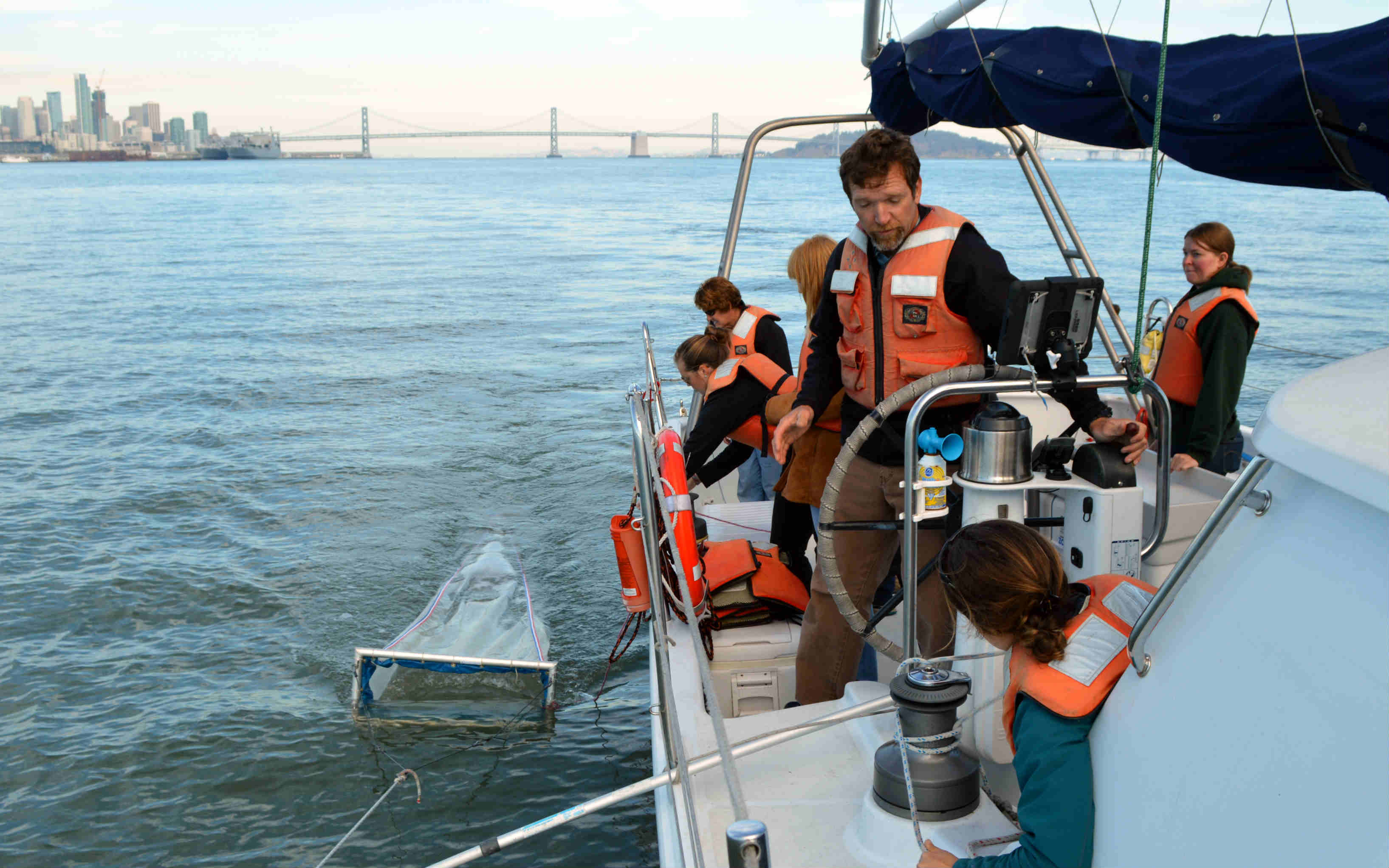 Towing from the research vessel Derek M. Baylis in San Francisco Bay. Photo KL