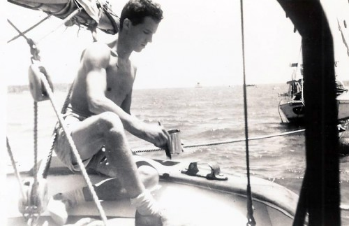 Our correspondent, Dave, in Balboa, Panama addressing the varnish on Kelpie